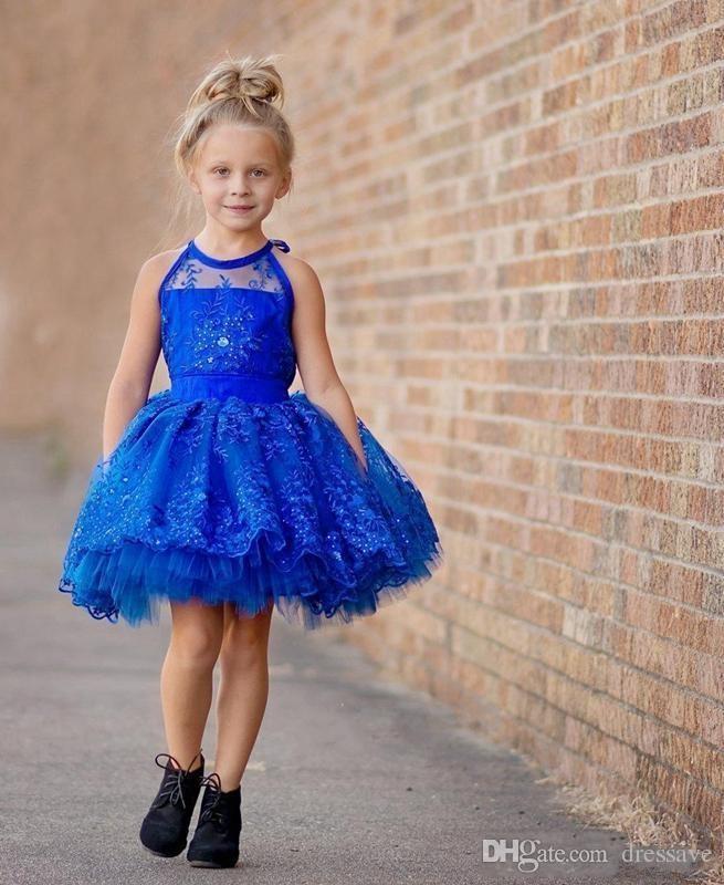 Royal Blue Sheer Toddler Infant Girls Vestidos del desfile Halter Lace Appliques Abalorio Wedding Party con gradas Hasta la rodilla Pequeños vestidos de cupcake