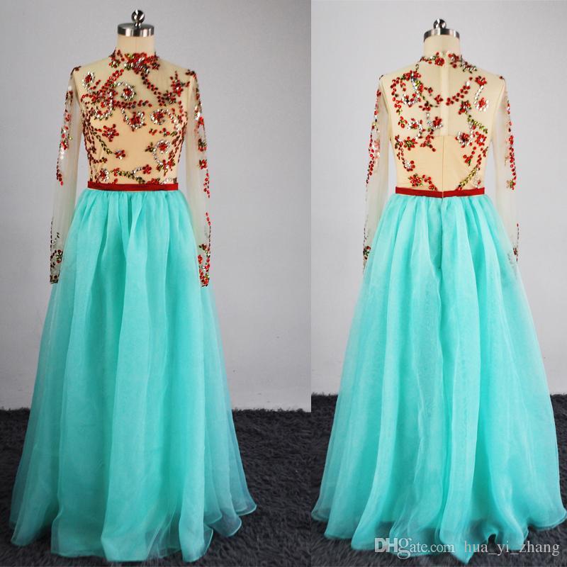Myriam Fares Celebrity Dresses 2016スイープ列車のミントオーガンザスカートと3つのクォーター長袖リアのビーズ