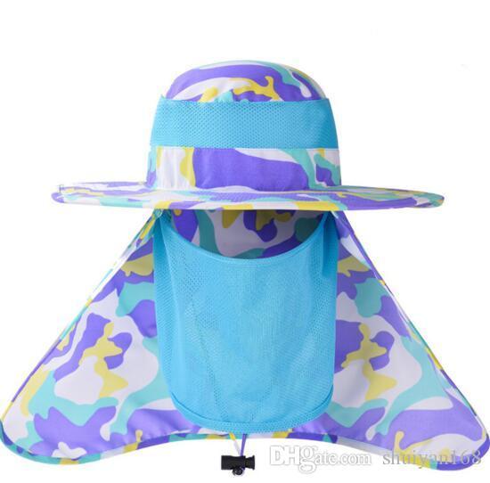 6 farbe Sommer Sonnenhut Eimer Männer Outdoor Camouflage Fischer Hut Sonnenschutz Verhindern Moskito Angeln Kappe Mesh Kopf Gesichtsschutz