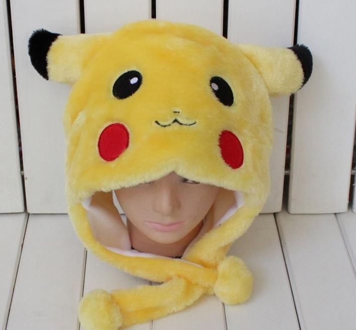 Anime Pikachu Fantezi Kostüm Isıtıcı Şapka Beanie Unisex yetişkin çocuklar Kabarık Peluş Sıcak karikatür Kap Eşarp Cosplay performans sahne NOEL hediye