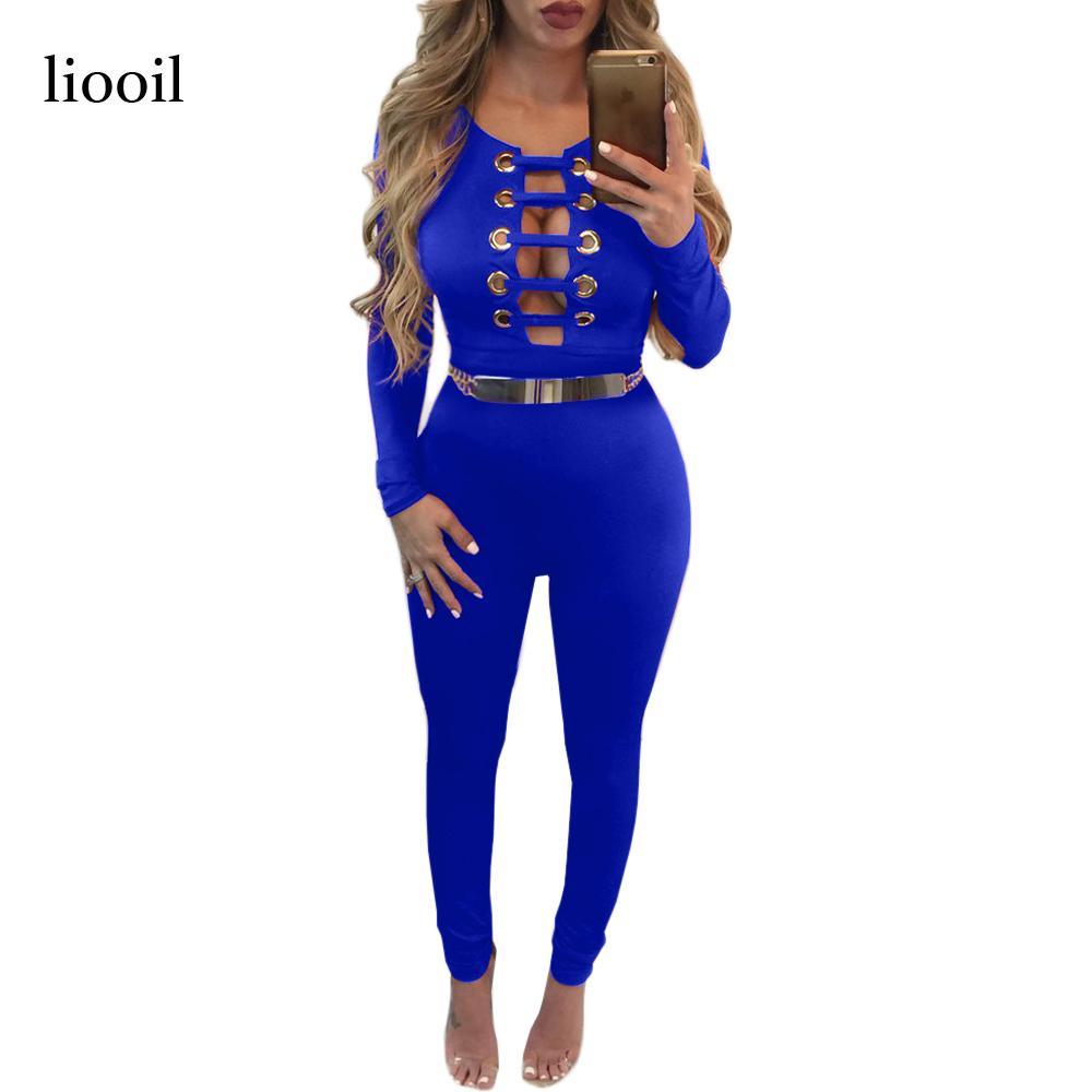 d5c82f7d694 Wholesale- Liooil New Sexy Hollow Out Bandage Bodycon Jumpsuit 2017 ...