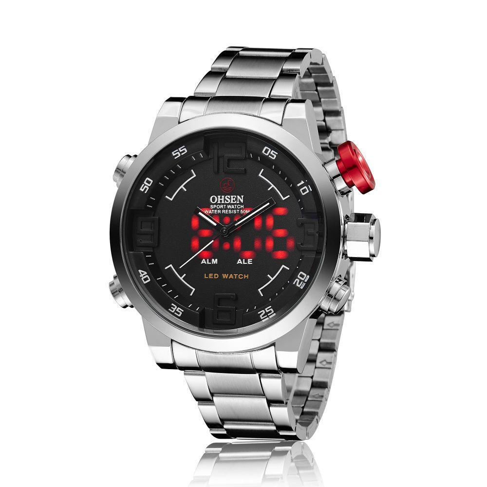 1b4d49cb705d Compre OHSEN Negro Relojes Para Hombre LED Rojo Luz Año Día Fecha Alarma  Analógico Digital Doble Timezone Reloj Pulsera De Cuarzo Plata Acero  Inoxidable ...