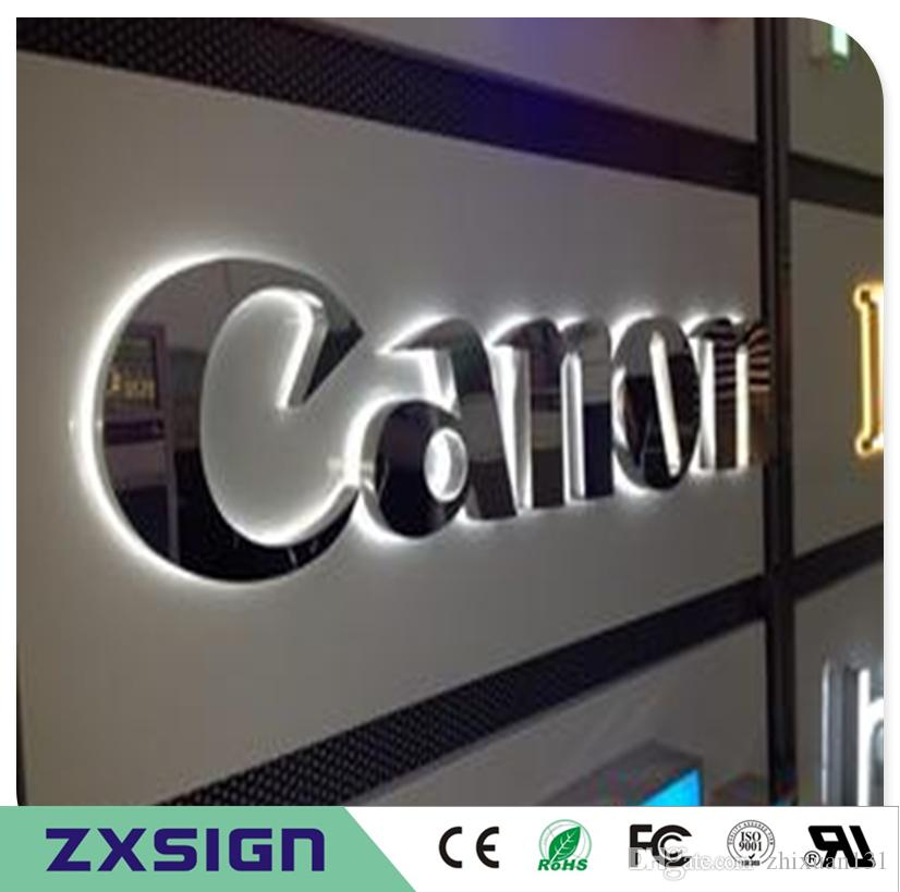 factory outlet outdoor 304 stainless steel back lit logo custom waterproof outdoor metal led sign letters for shop front signages backlit logo stainless