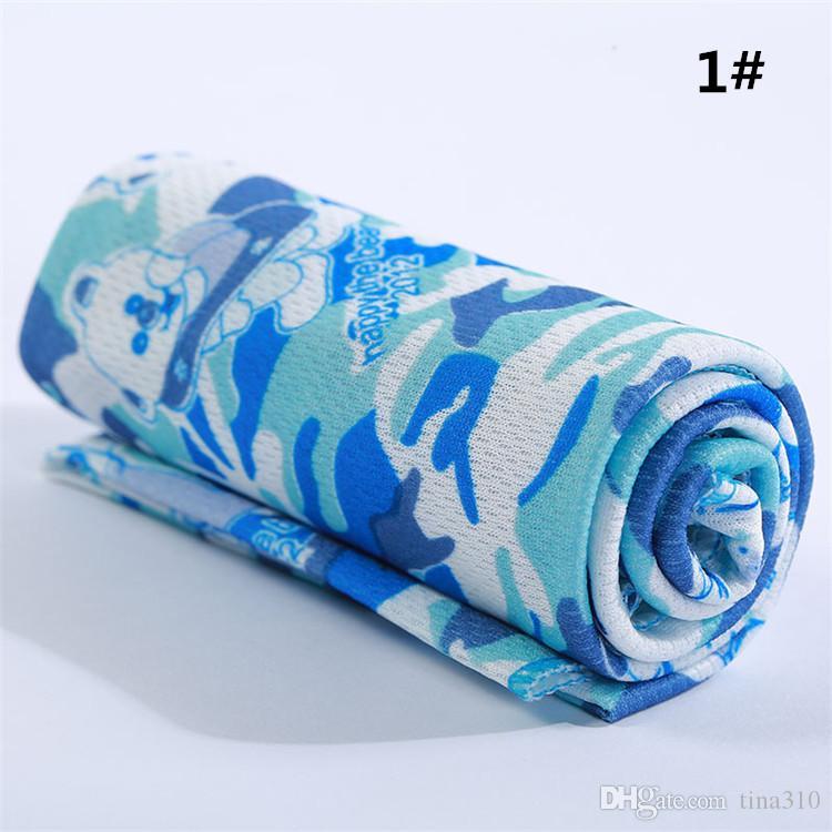 Toalla fría caliente Deportes de verano Toalla de enfriamiento de hielo Camuflaje Refrigeración de hielo Towe Deportes al aire libre toallas de yoga IB037