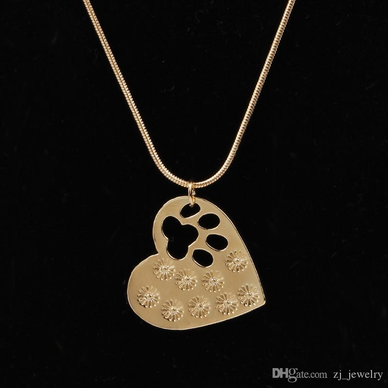 Pet Memorial Jewelry My Dog Rescued Me Engraved Pet Paw Print Pet Lover Heart Shaped Pendant Necklace Animal Keepsake Charms