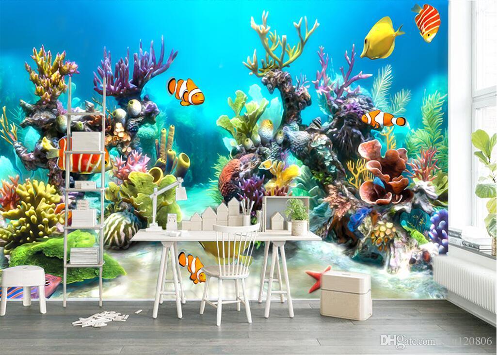 3d room wallpaer custom mural photo Underwater World Tropical Fish Children's decoration painting 3d wall murals wallpaper for walls 3 d