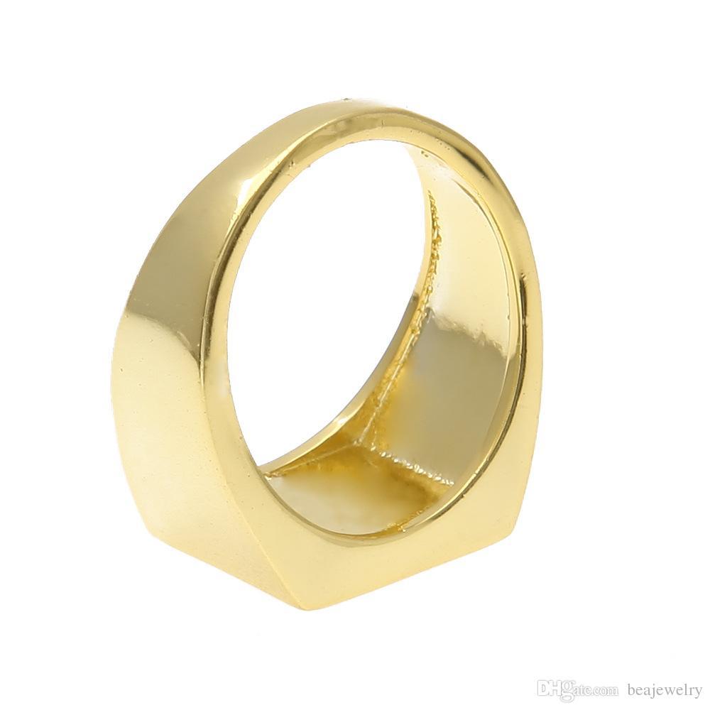 2016 أمريكا المد والجزر العلامة التجارية الهيب هوب خاتم الذهب أزياء الرجال خواتم الفولاذ المقاوم للصدأ للرجال الهيب هوب الرجال مجوهرات