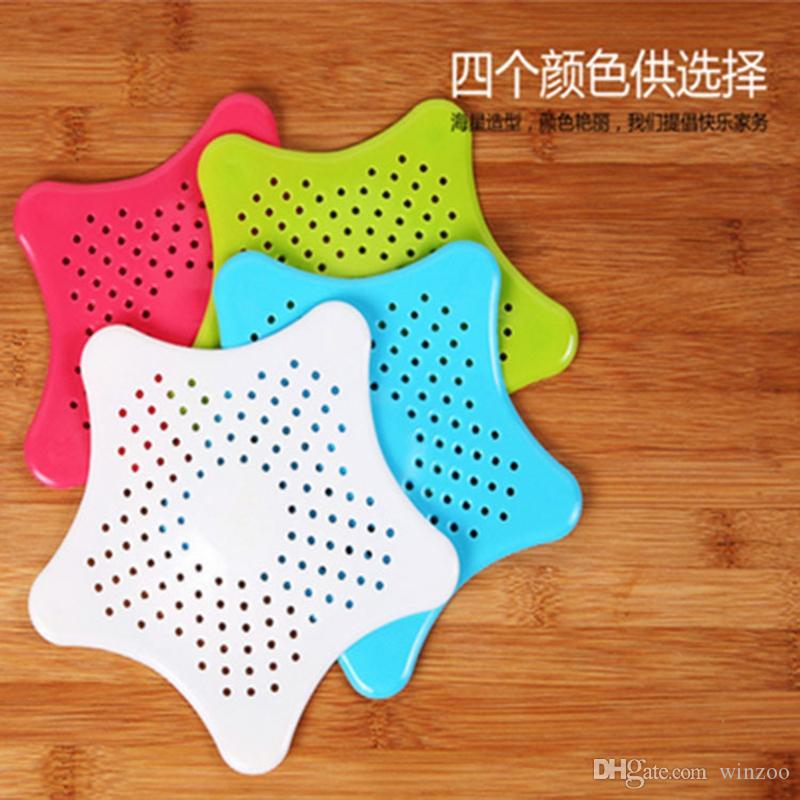 Home Living Five Pointed Star Colanders Silicone Anti-clogging Floor Drain Hair Stopper Bath Catcher Sink Strainer Sewer Filter Shower Cover