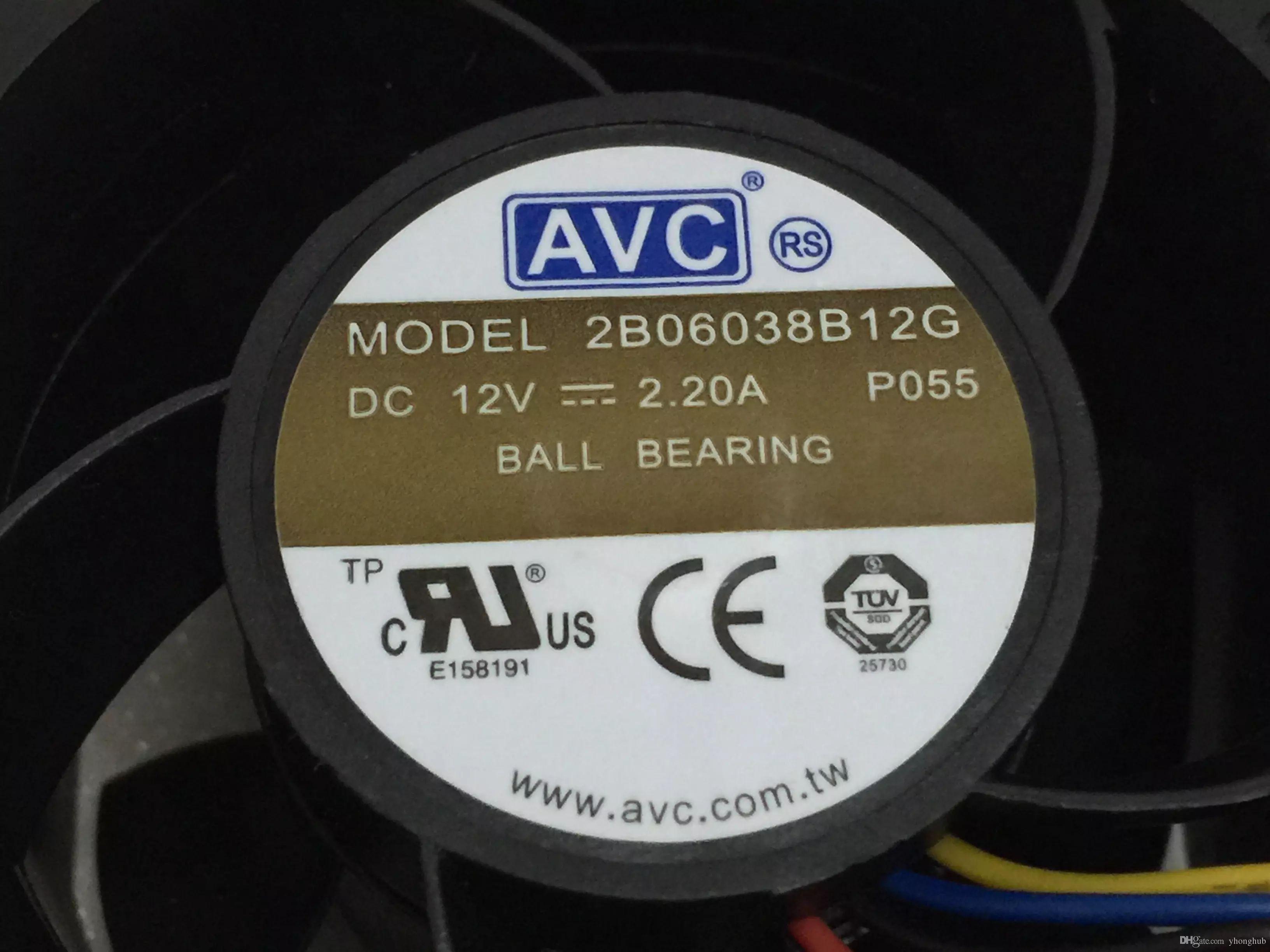 For AVC 2B06038B12G, P055 DC 12V 2.20A, 4-wire 6pin connector 80mm, 60x60x38mm Server Square cooling fan