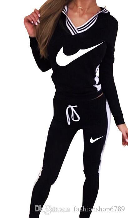 9076 # 여성 스포츠 양복 까마귀 운동복 + 바지 조깅 Femme Marque Survetement 운동복 세트 Tracksuit S-XL