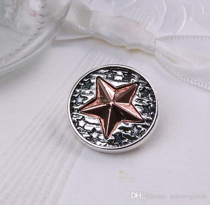 18mm Snap Jewelry Buttons Maple Leaf Metal Snap fit button bracelet Snap bangles for women Men