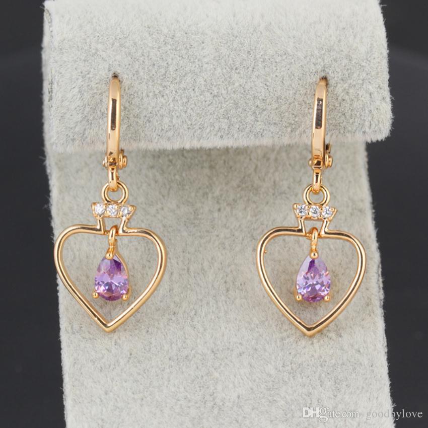 18K Yellow Gold Plated Clear Crystal Cluster Cubic Zirconia CZ Teardrop Heart Shape Hoop Earrings for Women