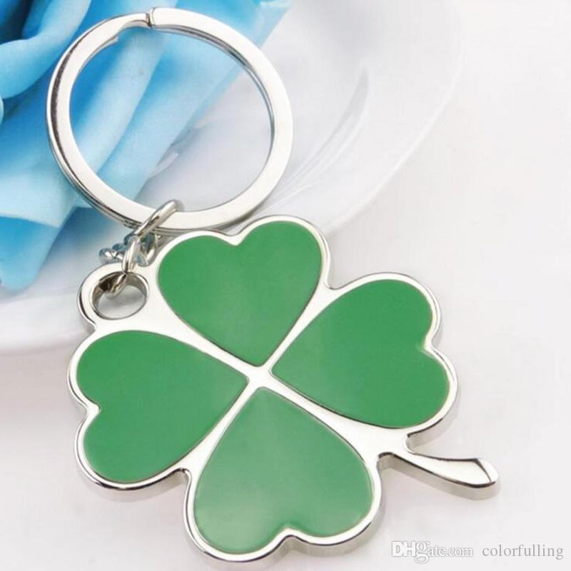 Creative Beautiful Alloy Green Lucky Clover Key Chain Jewelry Key holder hangings Key Ring women bag charm accessories
