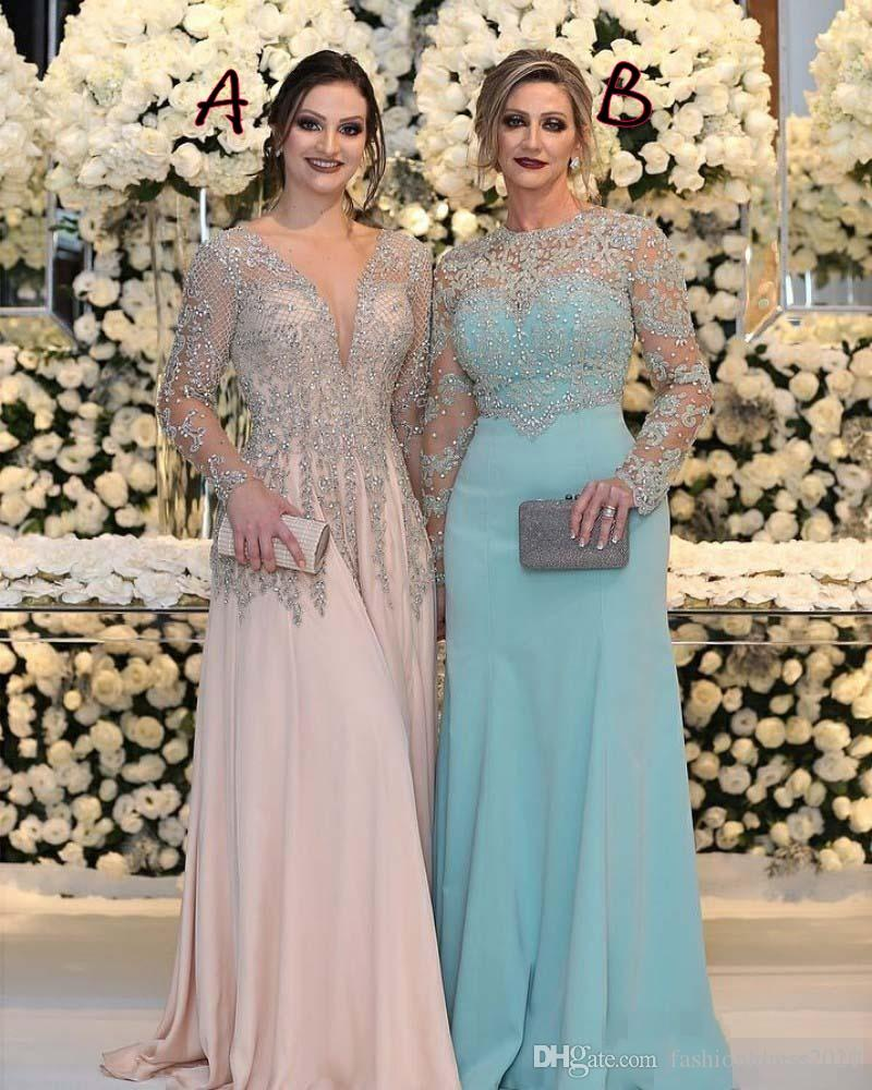 Sexy Mother Of The Bride Dresses V Neck Long Sleeves Silver Beaded Lace Backless Crystal Chiffon Plus Size Prom Party Dress Evening Gowns