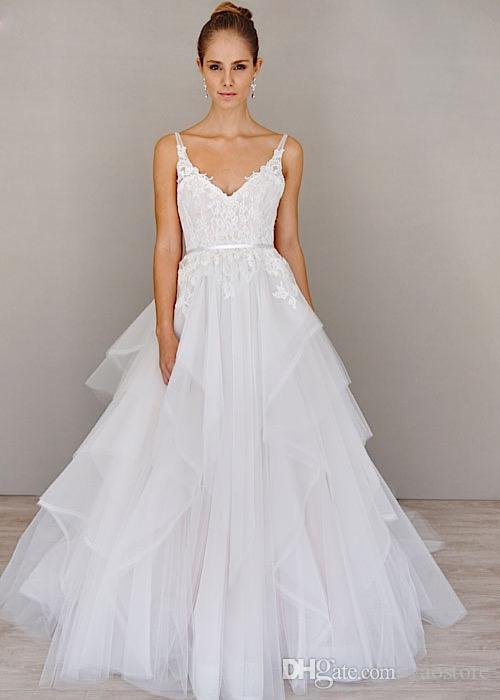 Discount Romantic Casual Beach Wedding Dresses Cheap Spaghetti ...