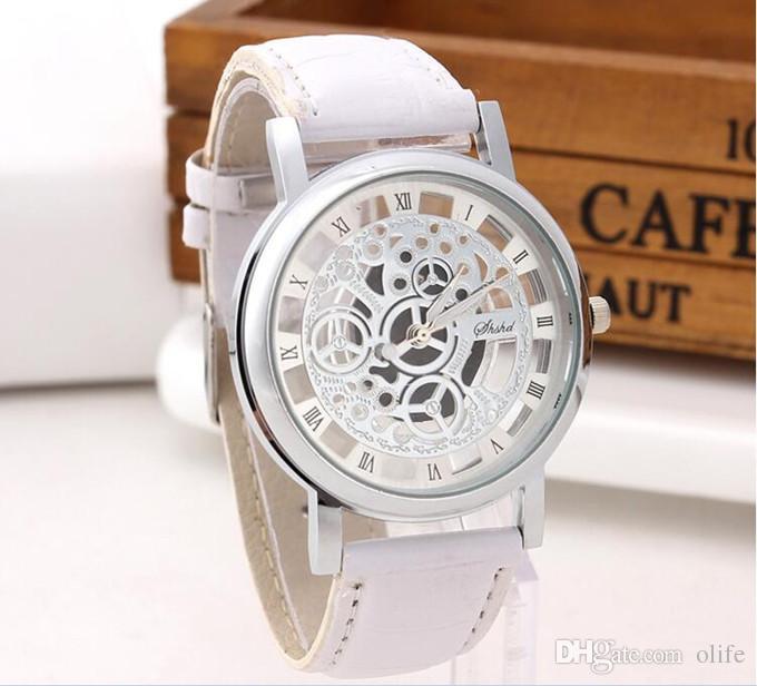 Luxo Mulher Homem Negócio relógio de pulso de dupla face oco out Imitação relógio mecânico Gráfico casal de couro de quartzo Transparente relógios