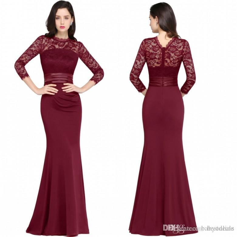 e39f5e6eac6 Designer Mermaid Long Sleeves Burgundy Evening Dresses 2018 Satin Lace  Jewel Neck Zipper Back Floor Length Formal Gowns Party Dresses Online Shop  Party ...