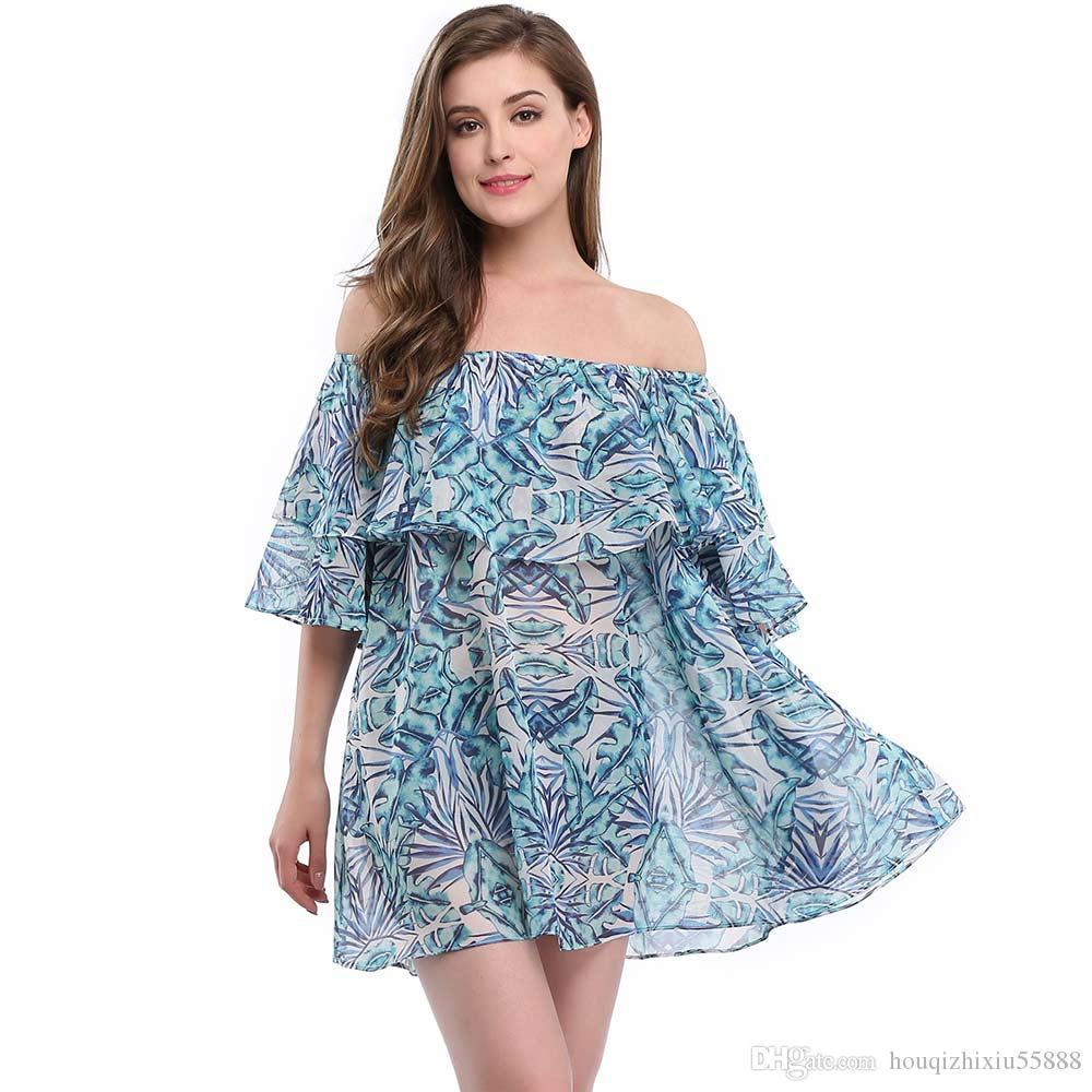 9c02106c5a72b 2019 New Sexy Off Shoulder Blue Print Tunics For Beach Cover Up Bikini  Cover Ups Cover Ups Bathing Suit Swimwear Women Swimsuit From  Houqizhixiu55888, ...