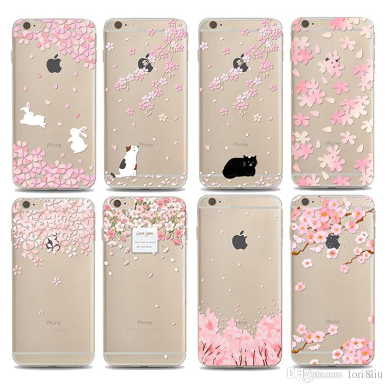 the best attitude 42c49 760d3 Cherry Blossoms Apple 7 Case For Iphone 7 Plus 6 6s 5 5s 5c Samsung S7 S8  Edge S6 Edge Plus S5 S4 Cover Flower Style TPU Shell Soft Cover Cell Phone  ...