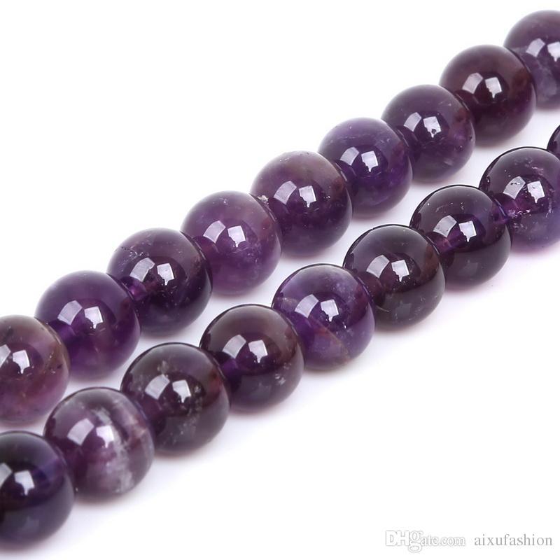 4/6/8/10 / 12mm cuentas de piedra amatista granos de piedra naturales redondos granos sueltos de piedra para la fabricación de joyas Strand 15
