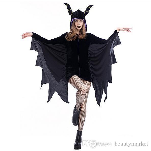 2017 halloween sexy ox horn costume women black evil bat costume clothes halloween masquerade plays vampire costumes psxy1708 from beautymarket - Clothes Halloween