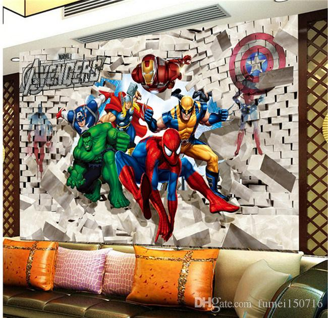 Custom Photo Wall Paper Avenger Union Hulk Spiderman 3D Stereoscopic Brick Wall Background Painting Art Wall Stickers