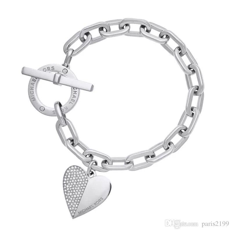 Braccialetto regolabile dei monili del partito di modo di alta qualità le donne Braccialetti placcati oro di fascino del cuore Braccialetti Regalo dell'amico