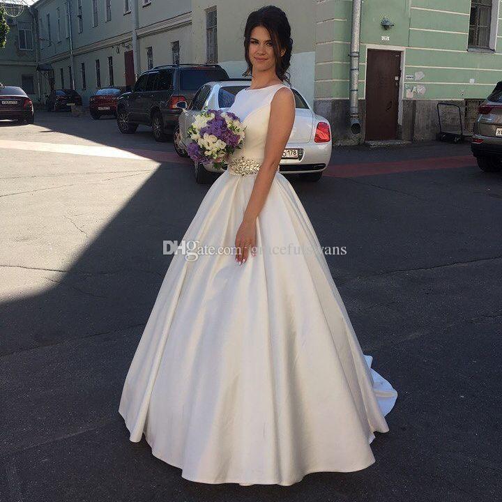 compre blanco satinado una línea de vestidos de novia largos 2018