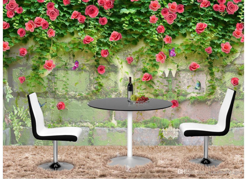 로즈 사랑 로즈 거실 TV 벽 벽화 3D 배경 화면 3D TV의 배경에 대한 벽 종이