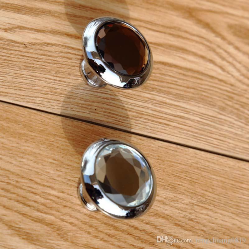 moderne einfache Glas Schublade Schrank Knöpfe zieht braun klar Kristall Kommode Küchenschrank Türgriffe Knöpfe Silber Chrom Knopf
