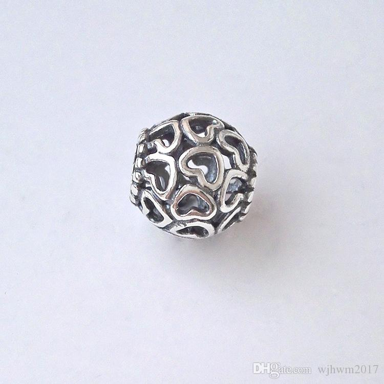 Authentic 925 Sterling Silver Openwork Your Heart Charm Beads Vintage Heart Beads For DIY Brand Bracelets Making Accessories
