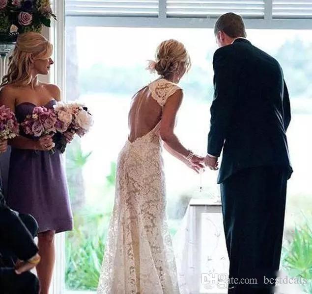 2020 pleine dentelle robes de mariage Campagnard pluging V-cou Sans manches Keyhole Retour Une ligne Vintage Custom Made Robes de mariée Vestios