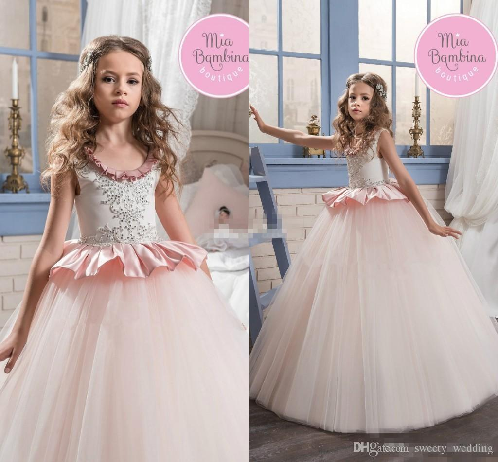 d45c3a5ad Blush Pink Ball Gown Flower Girl Dresses For Wedding Jewel Neck Ruffles  Beading Floor Length 2017 Long Child Birthday Party Communion Dress Light  Blue ...