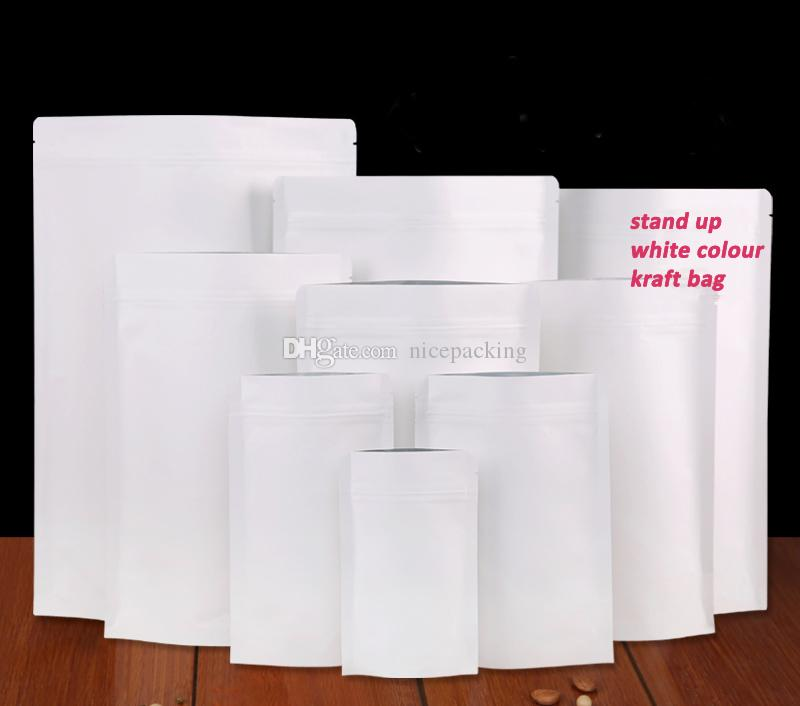 size 150*240mm White Color Kraft paper bag stand up packaging bag for leisure food packaging snack/candy/tea by DHL