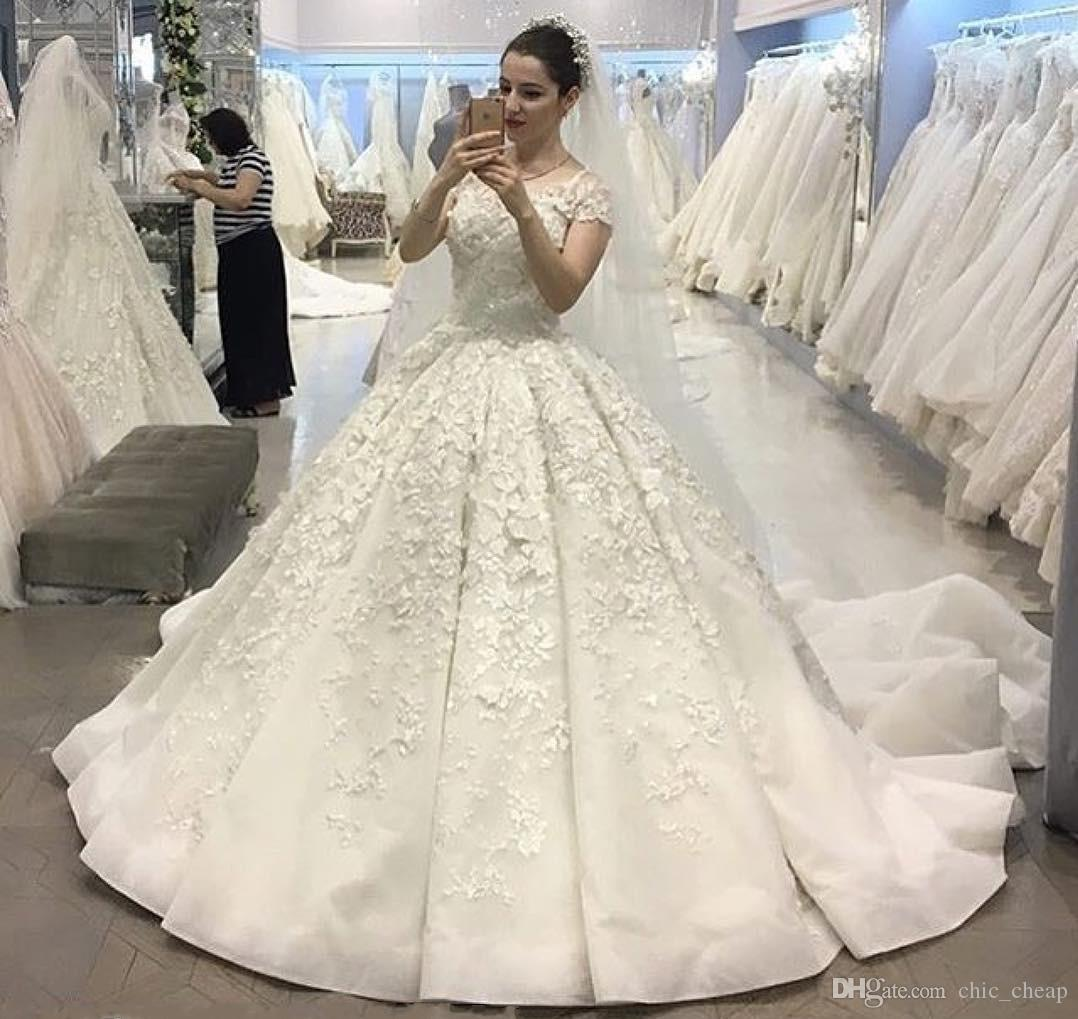Discount Luxurious White A Line Lace Wedding Dresses Sweet