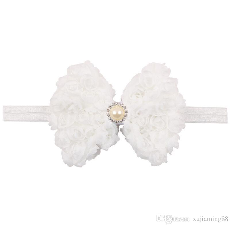 Sale Pearl Bow Infant Baby Headbands Bow Flower Girl Hairband Headwear Kids Photography Props NewBorn Baby Hair bands Accessories