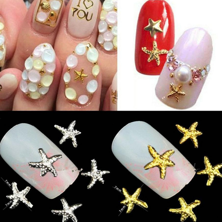 Wholesale- Summer Styles Starfish Fishing Shape 3D Nail Art Metal Charm Nail Jewelry DIY Craft Cell Phone Decoration Nail SuppliesTools