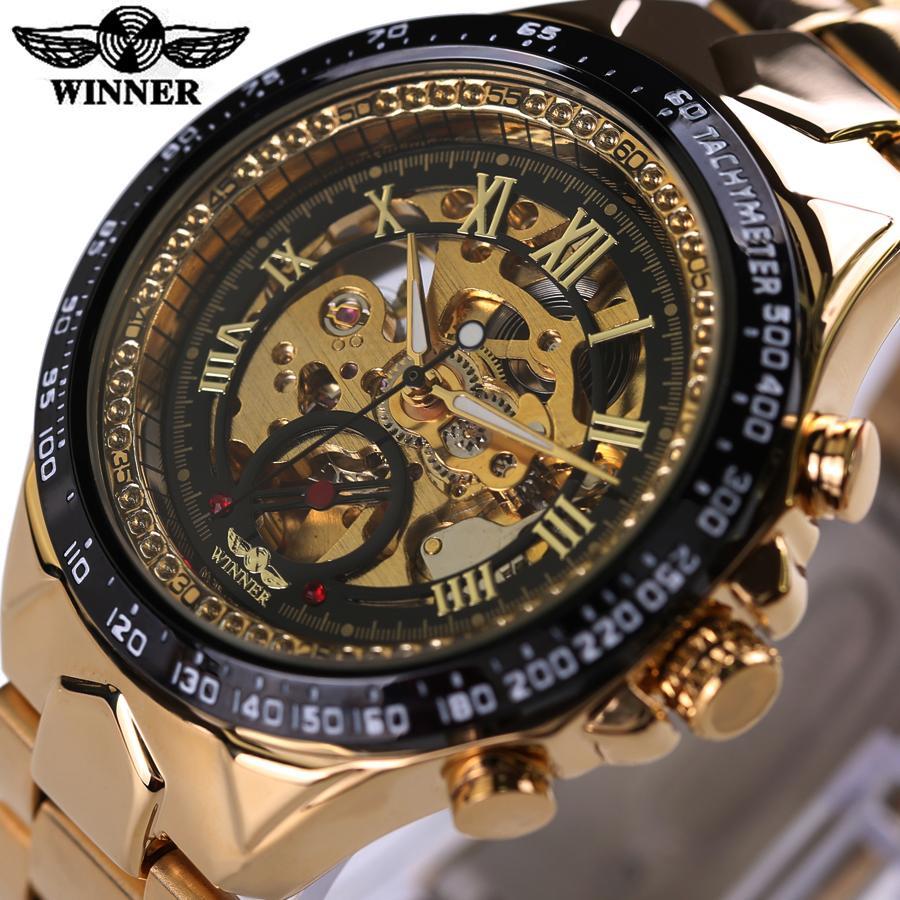 2746a38f379 ... Reloj De Oro Número Bisel Diseño Deportivo Para Hombre Esqueleto  Relojes Marca De Lujo Superior Reloj Mecánico Automático A  27.69 Del  Hermane