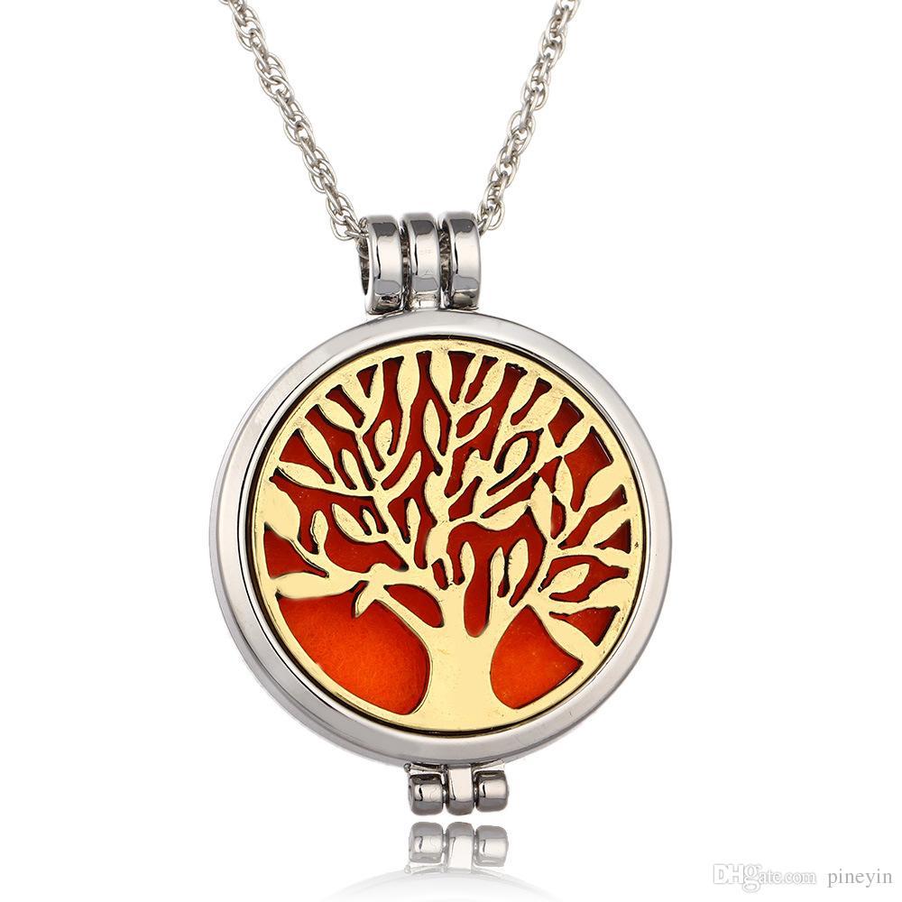 Árbol de la vida aromaterapia aceite esencial difusor collar Locket colgante joyería de acero inoxidable 316L con 24