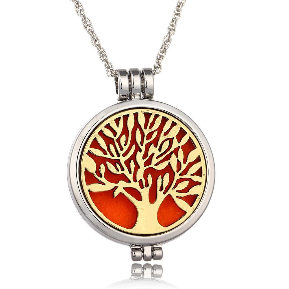 Árvore da vida Aromaterapia Difusor de Óleo Essencial Colar Medalhão Pingente de Aço Inoxidável 316L Jóias com 24