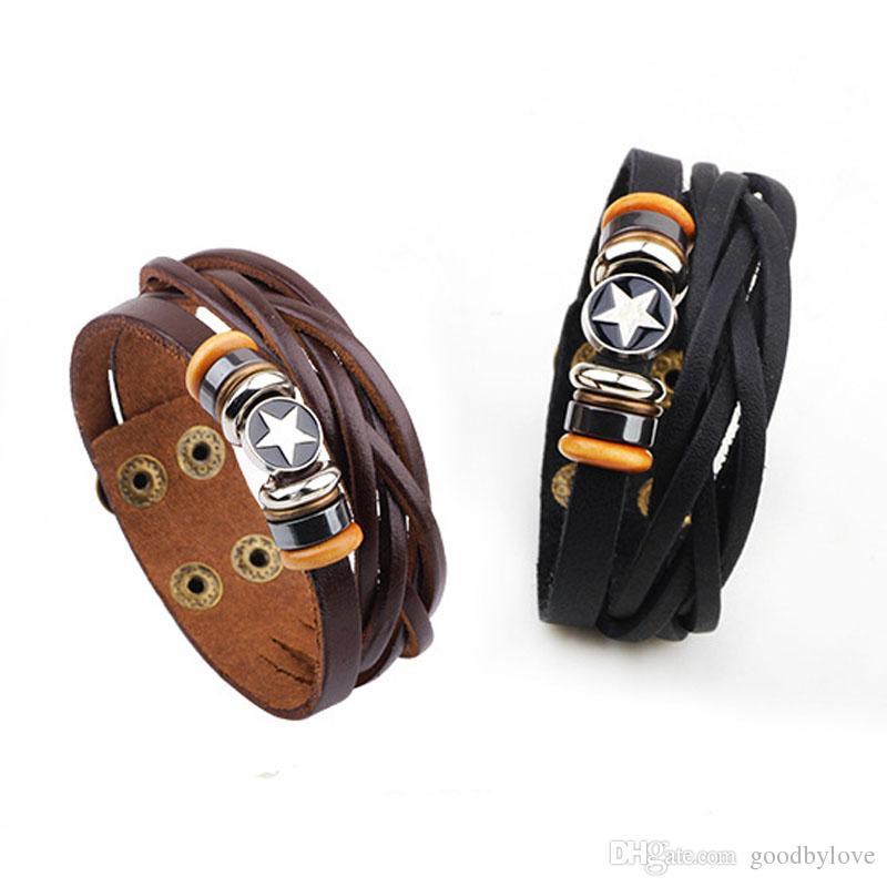Unisexe Hommes Bijoux Punk réel en cuir véritable Brown multi couches ajustables Wristband pentagramme Charm Bracelets Bangles pour le Parti