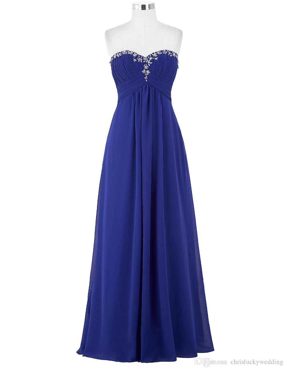 Günstige Schatz Grün Abendkleider Lange Formale Kleid Chiffon Prom Kleider 2017 Sexy Schwarz Lila Royal Blue Evening Party Kleider