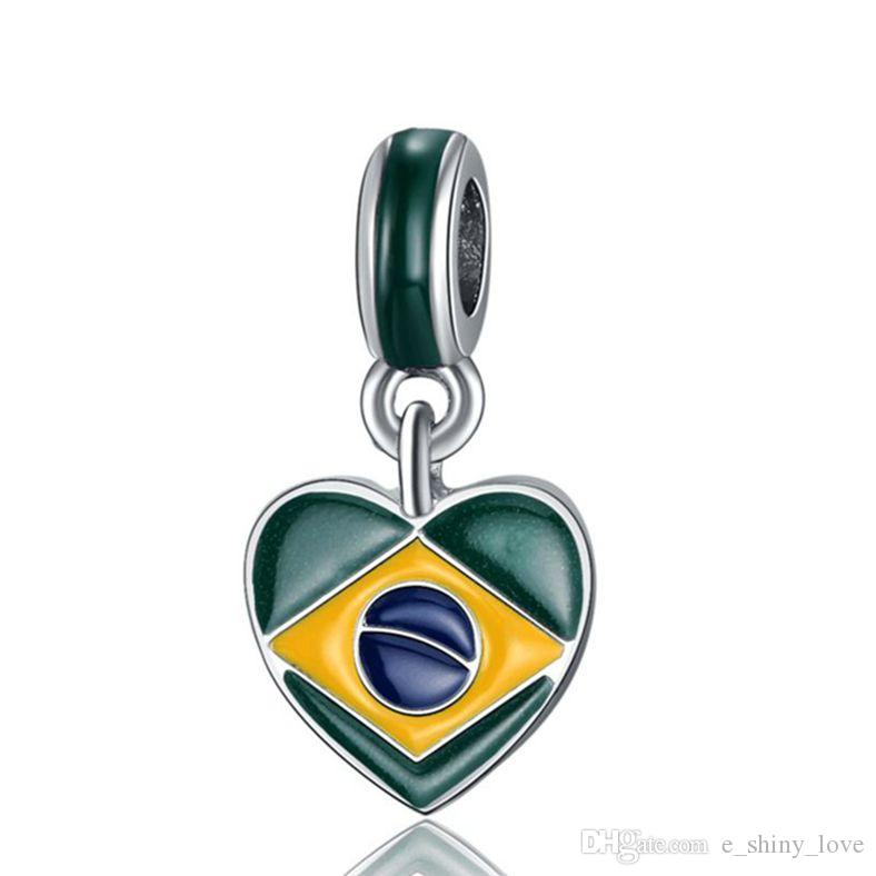 Fashion Silver plated Enamel Brazil Flags Heart Design Alloy metal DIY Charm fit European Bracelet&Necklace Low Price PED146