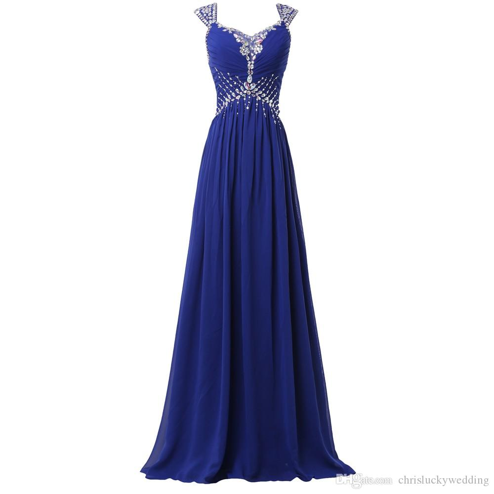 Royal Blue 2016 Evening Gowns Long Chiffon Evening Dresses Sequins Dress Prom Formal Guest Long Party Plus Size Special Occasion Dresses