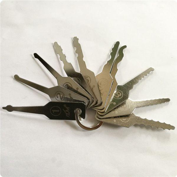 high quality KLOM Jiggler Keys car Lock Pick Set auto Double Sided Lock professional locksmith tool stainless steel