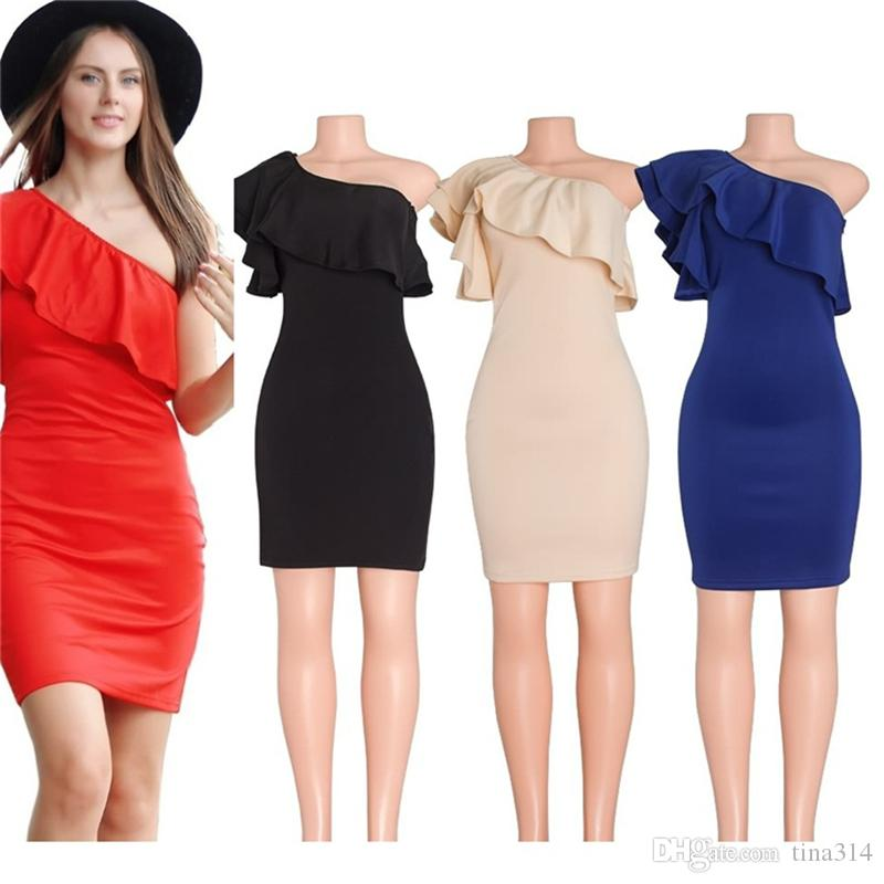 c28de5fd8ae92 New Fashion black sexy dress deep one shoulder dresses perspective tight  dress party dress free shipping BB016
