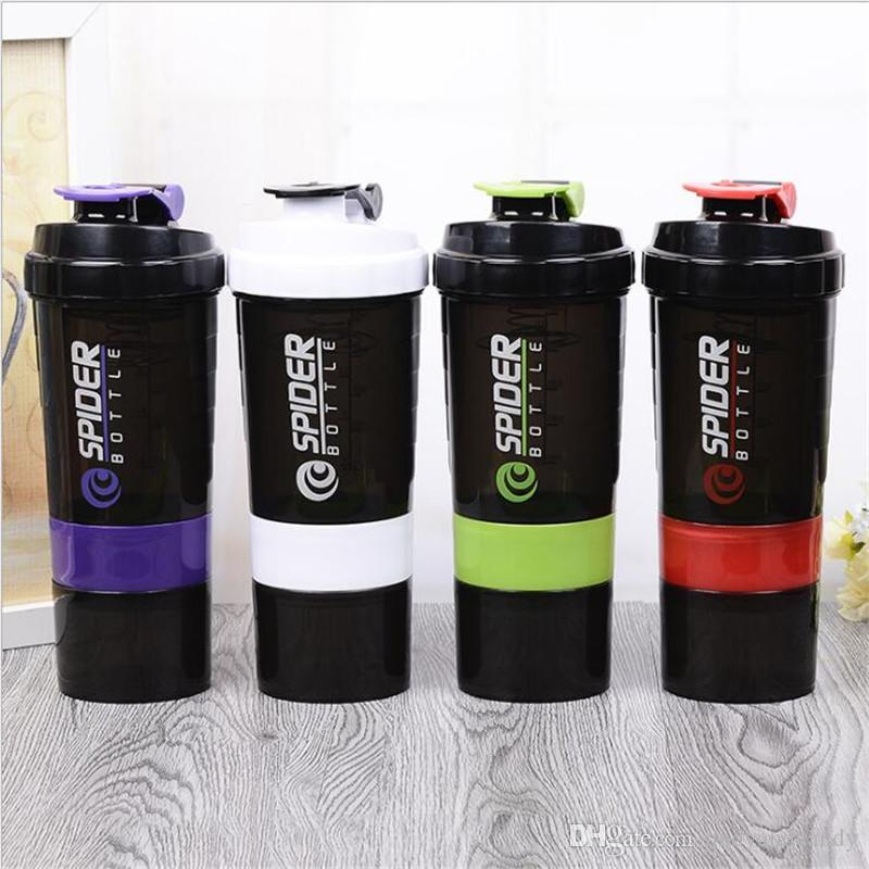 LOGO البروتين زجاجة شاكر خلاط خلاط كأس الرياضات المائية تجريب 500ML ياقة الجمنازيوم تدريب 3 طبقات BPA الحرة شاكر الحاويات