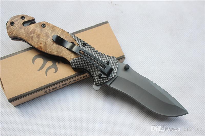 Browning X50 Tático Dobrável Bolso Faca Lâmina De Aço Lidar Com Facas De Sobrevivência De Titânio Caça Pesca Ferramenta EDC Com caixa atacado