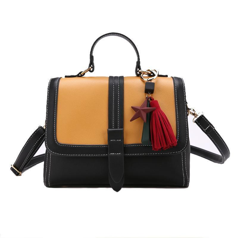 Brand Handbag Women PU Leather Bags Hit Color Fashion States Tassel ... 496e5d2636330