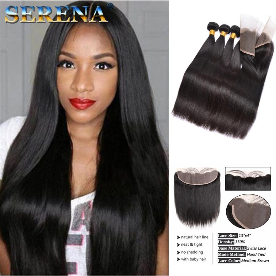 Straight 8A Brazilian Virgin Hair Straight 4 Bundles with Ear to Ear Frontal Closure Unprocessed Peruvian Wet and Wavy Human Hair Extension